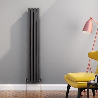Reina Neva Oval Tube Vertical Designer Radiator - Single Panel - Anthracite - 1500 x 236mm