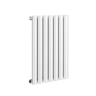 Reina Neva Oval Tube Horizontal Designer Radiator - Single Panel - White - 550 x 413mm